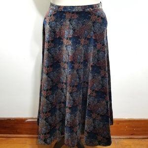 Vintage velvet floral wide circle maxi midi skirt